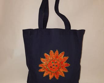 Embellished Canvas Tote Bag With Orange Sun Flower