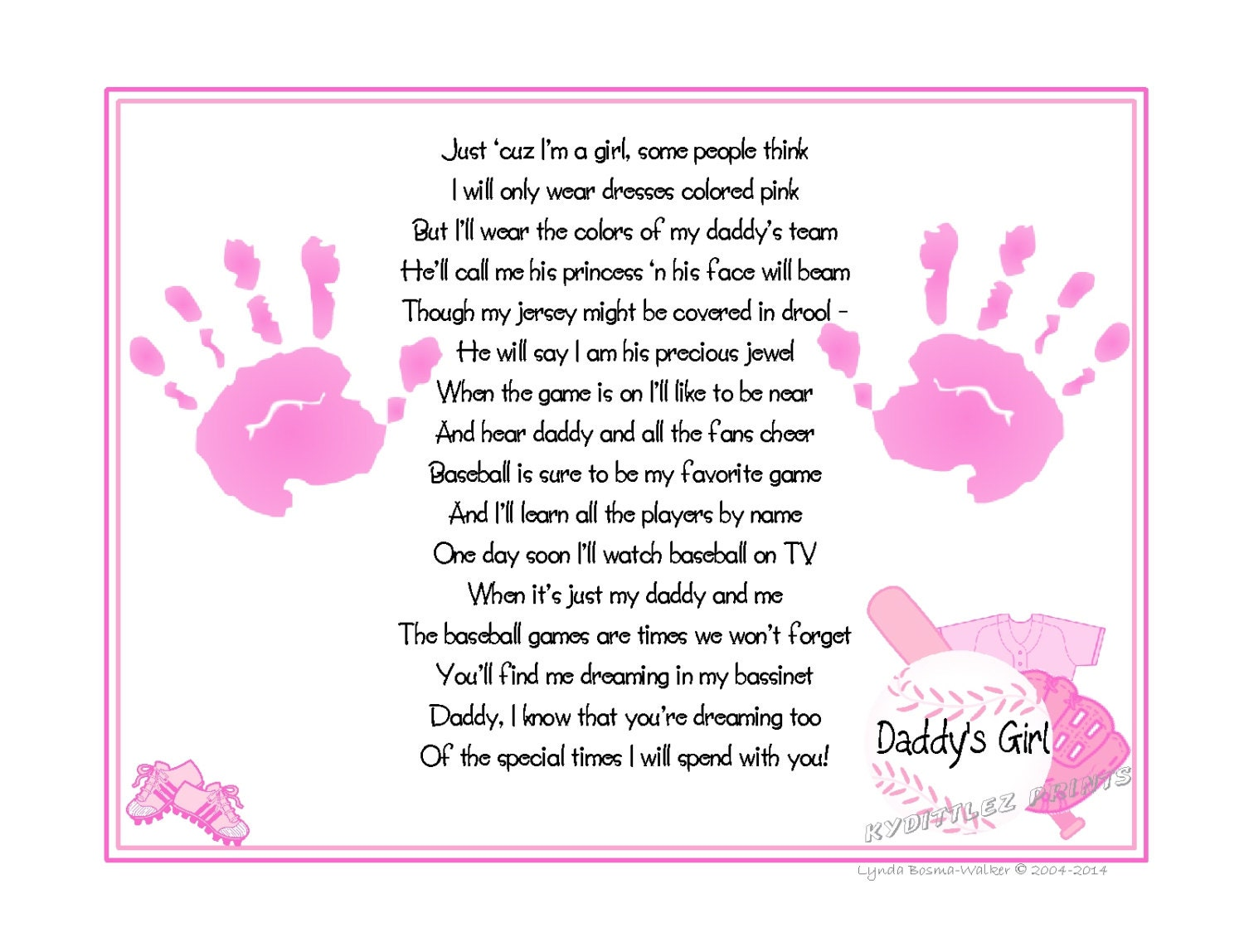 Daddys Girl & 169 Baseball Sports Poem Print Baby Handprints