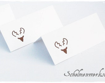 Table card with stamped moose/reindeer (6 pcs) Christmas