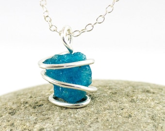 Raw Apatite - Rough Apatite - Apatite Necklace - Raw Crystal Necklace - Blue Rough Apatite - Blue Raw Apatite - Wrapped Apatite