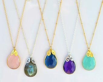 Custom birthstone necklace, Personalized gift for women, birthday gift for mom, custom necklace, bridesmaid gift ideas, gemstone necklace