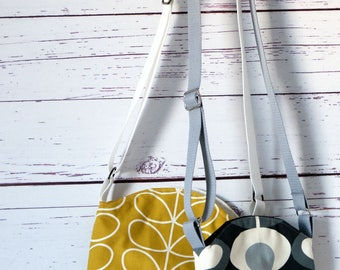 Mustard and Cream or  Grey Flowers  Medium and Mini Cross Body Bucket Bag -  Holiday Bag