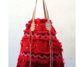Boho Red Tote Bag