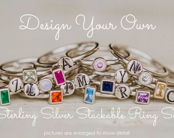 Stackable Birthstone Rings, Sterling Silver Ring, Initial Rings, Stacking Ring Set, Silver Stack Rings, Create Your Own Mother's Ring