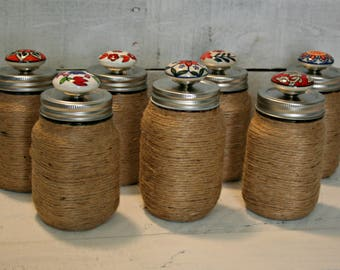 Decorative Mason Jars | Mason Jars | Jute Wrapped Mason Jars | Mason Jar Gifts | Mason Jar Decor