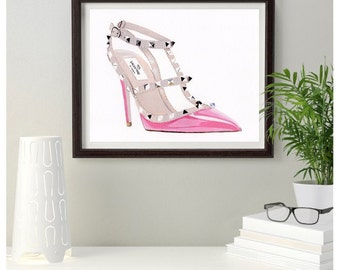 Original Painting Designer Pink Valentino Rockstud  Fashion shoe 10 x 8  inches Free Post in UK