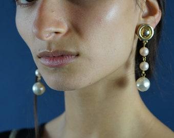 Vintage multi pearl drop clip-on earrings