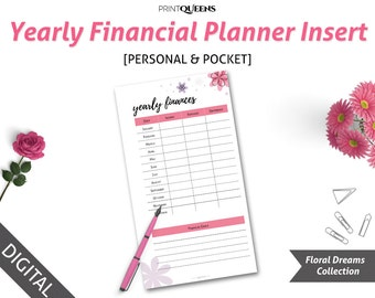 Yearly Financial Planner Insert, Yearly Planner, Financial Goals, Yearly Budget, Personal Size Planner Insert, Pocket Size Planner Insert