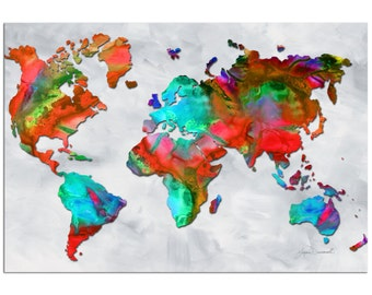 Travel art map artwork bronzepewter land sea colorful world map art beauty of color v25 rainbow map artwork gumiabroncs