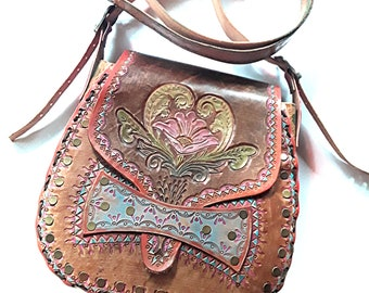 Hand Tooled Leather Shoulder Bag - Crossbody Bag - Hand Painted Leather Bag - Boho Leather Bag - Hippie Leather Crossbody Bag
