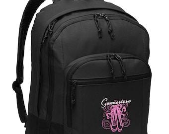 En Pointe Ballet Dancer, Ballerina Embroidered Personalized Backpack