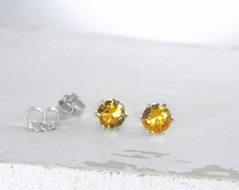 November Birthstone Earrings Silver Citrine Earrings Citrine Stud Earrings Gemstone Stud Earrings Birthstone Jewelry Holiday Gift For Her