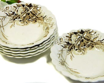 Six Clarice Cliff Dinnerware Harvest Pattern Fruit Bowls Wilkinson