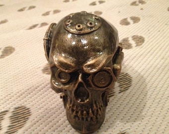 Steam Punk Skull, Halloween, Gothic art,Morcycle,Stone Art Sculpture,Decor,Collector, Gift, Harley,
