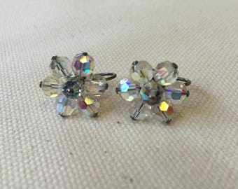 1950s/60s Iridescent Flower Earrings