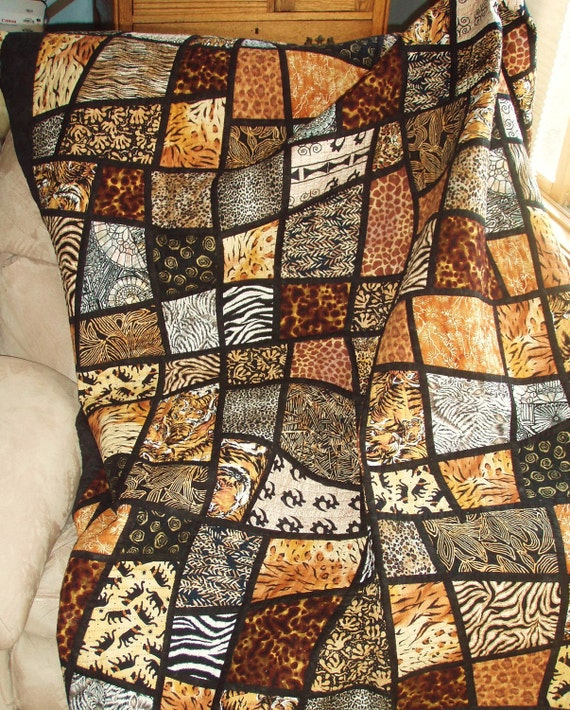 Twin Size Bed Quilt Jungle Animal Prints in Mosaic Crazy : crazy nine patch quilt - Adamdwight.com