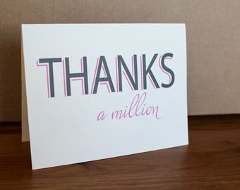 Thanks a Million - Thank you Card - Oh Goodness  Paper Co