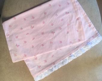 Toddler Pillowcase in Pink Floral - Eyelet Trim