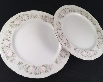 Two Vintage Sheffield  Fine China Pale Pink Floral CLASSIC Dinner Plates