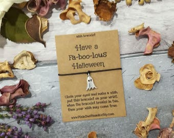 Ghost Wish Bracelet, Halloween Wish Bracelet, Halloween Bracelet, Halloween Jewellery, Trick or Treat Gift, Halloween Gift, Ghost Halloween