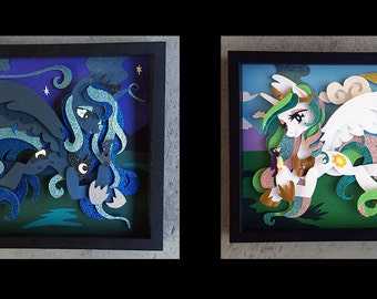 """11"""" x 14"""" Princess Luna or Princess Celestia Shadowbox"""
