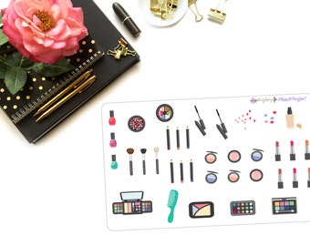 Makeup Planner Stickers/Makeup Stickers/Beauty Stickers. Perfect for your planning and scrapbooking needs!