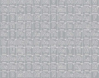 Periodic Table of Elements Grey Science Geek Cotton Fabric by Becky Marie Designs Novelty for Riley Blake Fabrics per Fat Quarter FQ