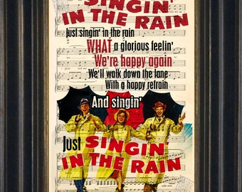 Gene Kelly Singing in the rain movie print on upcycled Vintage Sheet Music Page mixed media digital wall decor