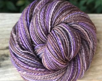 Handspun yarn, purple, pale lilac, and gray tones, 100% merino wool, malabrigo wool, DK, worsted weight, 3 ply