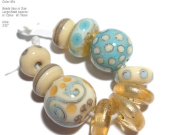 COLLECTION 100 Lampwork Bead Set Handmade - Aqua Blue  Ivory Topaz Gold   - Beach Ready! -  Organic Design