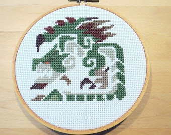 Rathian Icon Monster Hunter Cross Stitch Pattern PDF Download, Gifts for Gamers, Video Game Cross Stitch, Nerdy Cross Stitch, Pixel Art