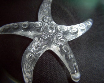 Large Clear Plastic Starfish Pendant x 2