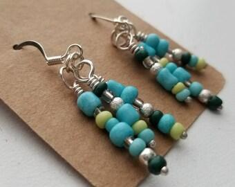 Aztec Colored Dangle Bead Earrings/Beaded/Turquoise/Green/Yellow