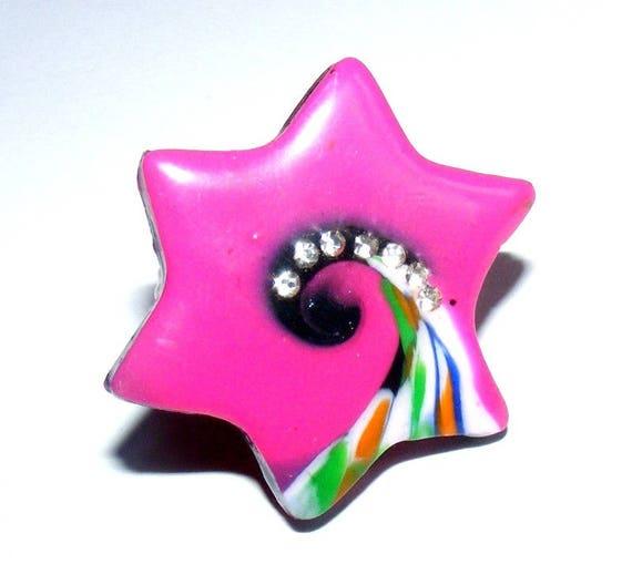Ring raspberry star and rhinestone polymer clay