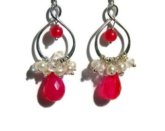 Hot Pink Earrings, Pearl Cluster Teardrops, Sterling Silver, Infinity Drop Earrings