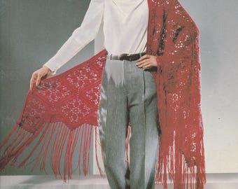 Vintage Pattern Book, Knitted Irish Shawl, Triangular Shawl, Crocheted Shawl, Double Crochet, Filet Crochet, Shawl Pattern, FREE SHIPPING