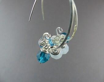 Silver Hoop Earring with Bead - Beaded Open Hoop Earrings - Sterling Silver Hoops - Interchangeable Bead Wire Jewelry