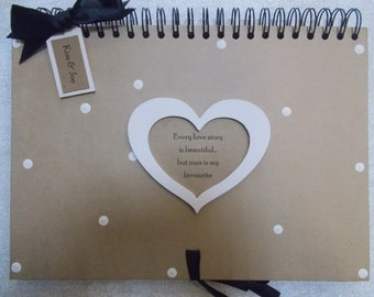 Personalised Vintage Heart Shabby Chic Love Story Engagement Anniversary Memory Scrapbook Album Gift A4 Size 40 Pages
