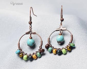Turquoise hoops, hoop earrings, copper earrings, picasso beads wire wrapped jewelry, gift for women, gemstone jewellery girlfriend boho gift