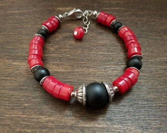 Natural stone Red coral rondelle and schungite beads bracelet