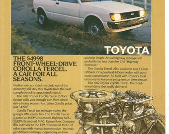 1982 Advertisement Toyota Corolla Tercel Front Wheel Drive White 2 Door  Economy Dealership Shop Garage 8x11