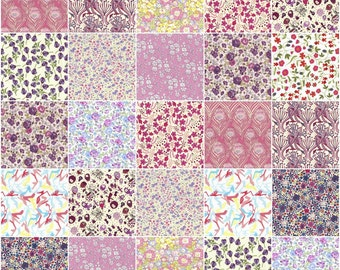 """36 Liberty print pink and purple charm pack, 5"""" patchwork squares in pink, purple and lilac"""