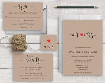 Rustic Wedding Invitation Suite Template, Rustic Invitation Template Mr and Mrs Wedding Invitations Kraft Wedding Invition Set Kraft Invites