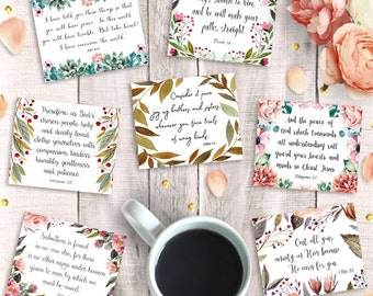 "Scripture Cards, Printable 3""x2.5"", Instant Download, 9 Inspirational Bible Verse Hang Tags, Art Journal Collage Sheet, Digital Scrapbooking"