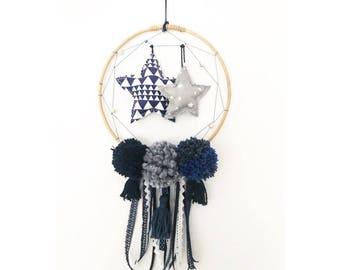 Dream catcher customizable Catchdreams. Ribbons. Lace. Pom poms. Kids room decoration. 20cm in diameter.