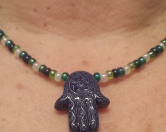 Blue Hand of God Hamsa Green White Navy Blue Beaded Necklace
