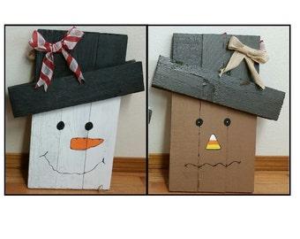 Reversible Wooden Scarecrow/Snowman Decor