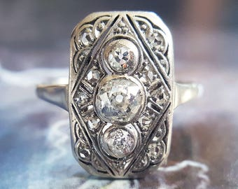 Antique Engagement Ring | 1920s Art Deco .68 CTW Diamond Engagement Ring in 14K White Gold Size 7 1/2