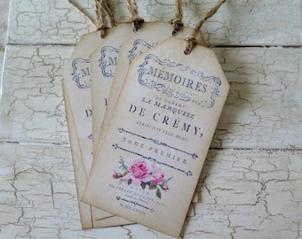 4 Shabby French Chic Vintage Inspired Tags Journal Cards  Journal Embellishments Scrap Booking  Travelers Note Book Card Making