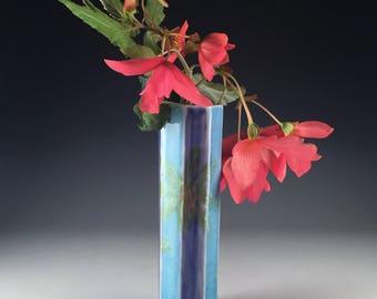 Handmade Porcelain Vase Cobalt Aqua Stripes